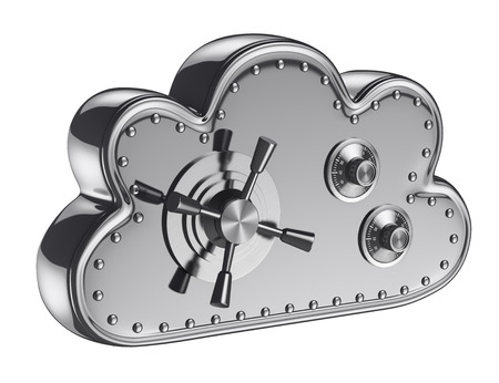 backups: 3d cloud security concept. Safe box. Isolated white background. Stock Photo