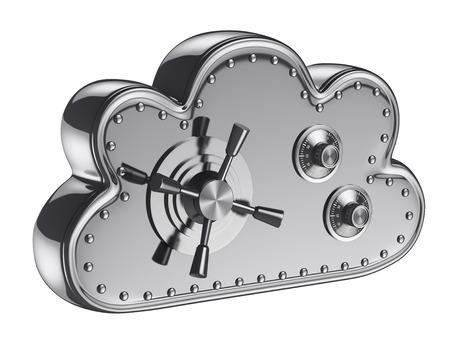 caja fuerte: Concepto de seguridad en la nube 3d. Caja. Aislado fondo blanco. Foto de archivo