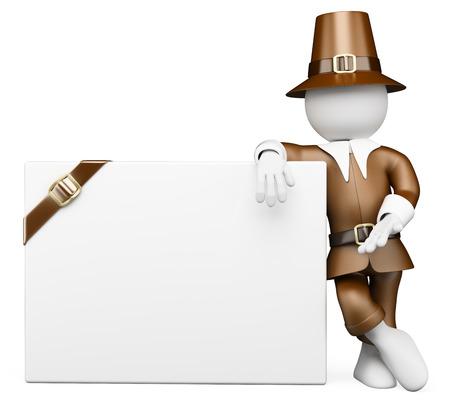 3 d の白人の人々。ブランクの看板に傾いている典型的な感謝祭ドレスを持つ男。孤立した白い背景。