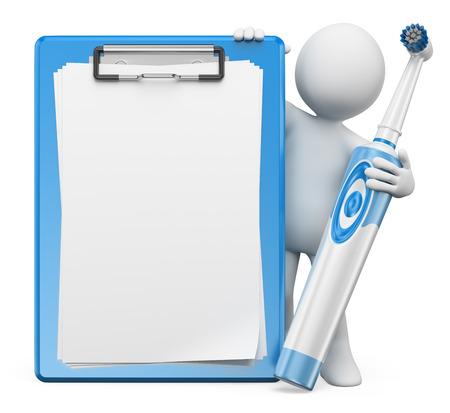 3d witte mensen. Tandarts met een elektrische tandenborstel en blanco klembord. Geïsoleerde witte achtergrond.