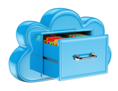 3D Cloud storage services concept . Isolated white background. photo