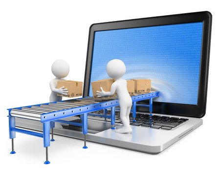 personas: 3d gente blanca. La entrega de paquetes a través de una pantalla de ordenador portátil. Aislado fondo blanco. Foto de archivo