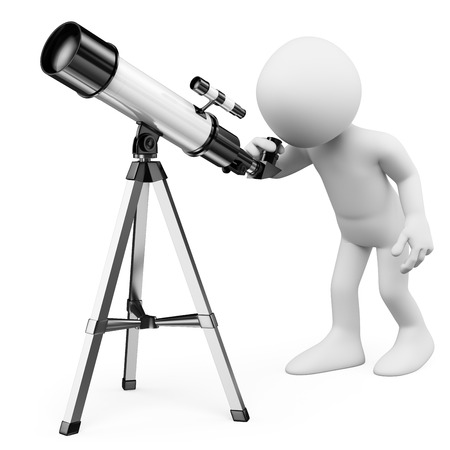3d white people. Astronomer looking through a telescope. Isolated white background. 스톡 콘텐츠