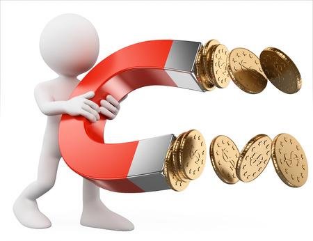 3D-weiße Menschen. Mann mit ein Magnet zieht Geld. Business-Metapher. Isolierte weißen Hintergrund.