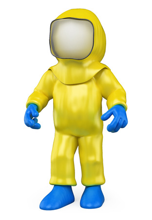 3d white people. Man with a biohazard suit by a biological warning. Biohazard. Isolated white background. Banque d'images