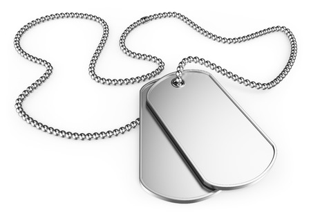tags: 3d soldier dog tags. Isolated white background.