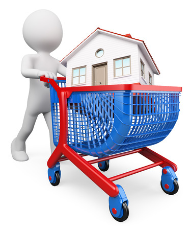 3d white people. Man carrying a house in a shopping cart. Buy a house concept. Isolated white background. photo