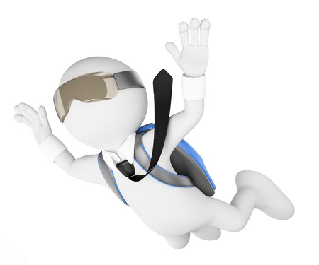 dynamic activity: 3d white people. Financial risk concept. Businessman leaping into the void. Isolated white background.