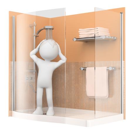 bonhomme blanc: 3d personnes de race blanche. Douche le matin. Fond blanc isol�.