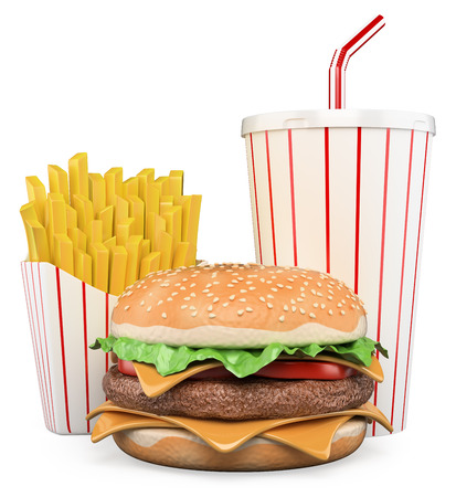 3D Hamburger with fries and drink. Isolated white background. photo