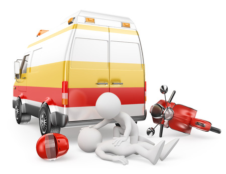 3d white people with Ambulance caring for an motorcyclist has had an accident. Isolated white background. Stock Photo