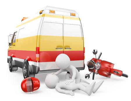 3d witte mensen met Ambulance zorg voor een motorrijder heeft een ongeluk gehad. Geïsoleerde witte achtergrond. Stockfoto