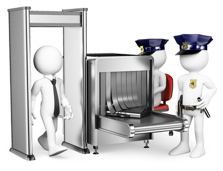 3d white people of Security control airport access with two policemen near Metal detector. Isolated white background. Foto de archivo