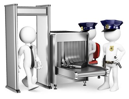 portones: 3d gente blanca de acceso al aeropuerto de control de seguridad con dos polic�as cerca de detector de metales. Aislado fondo blanco. Foto de archivo