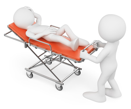 3d witte mensen, Verpleegster die een patiënt op een oranje brancard. Geïsoleerde witte achtergrond.