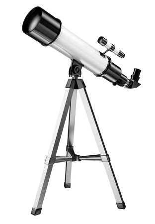telescope: 3D telescope on a tripod. Isolated white background.