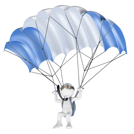 3d white people. Minimize financial risks concept. Businessman flying with a parachute. Isolated white background.