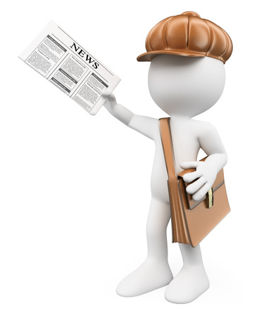 3d white people. Latest news concept. Child distributing newspapers. Paperboy. Isolated white background.