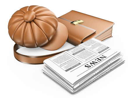 early 50s: 3D Cap briefcase and newspaper. Latest news concept. Isolated white background.