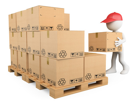 3d white people. Stock boy stacking boxes on a pallet. Storekeeper. Isolated white background.