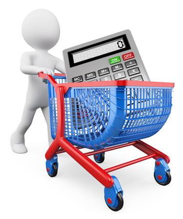 3d white people. Man carrying a calculator in a shopping cart. Shopping concept. Isolated white background. photo