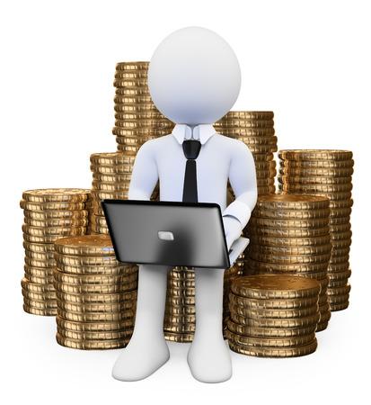 3d witte mensen. Geld verdienen op internet concept. Man zit op een stapel van munten met een laptop. Geïsoleerde witte achtergrond.