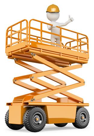 trabajadores: 3d gente blanca. El ingeniero en una plataforma de elevación con un pulgar hacia arriba. Fondo blanco aislado.