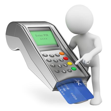 3D-weiße Menschen. Bezahlen mit einer Kreditkarte in einem Bankterminal. Isolierte weißem Hintergrund.