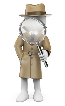 investigación: 3d gente blanca. Detective. Investigador privado con una lupa. Fondo blanco aislado.