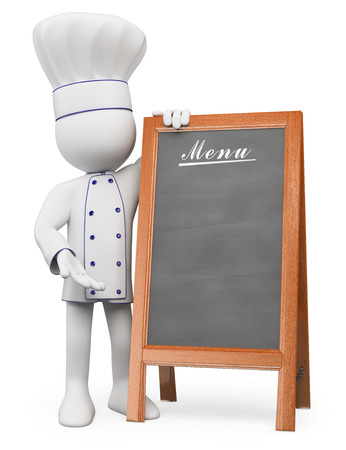 3d white people. Chef with a blank of menu. Isolated white background. Archivio Fotografico
