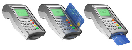 3d Bank terminal with credit card. Isolated white background.