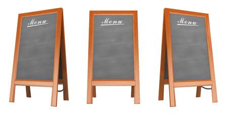 3D Blank menu poster in three views. Isolated white background. Standard-Bild