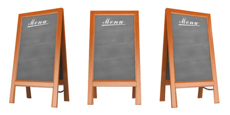 3D Blank menu poster in three views. Isolated white background. Banque d'images