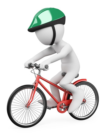3d white people. Man riding a red bicycle with a green helmet. Isolated white background.