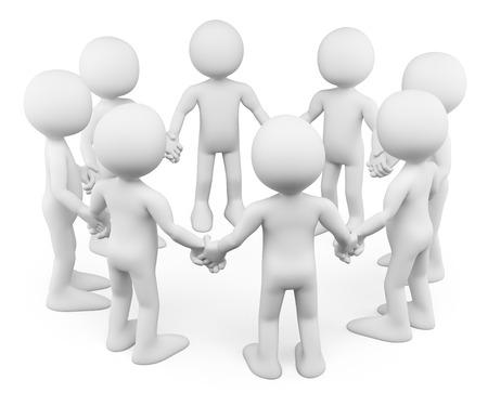 3d fehér emberek. Körben az emberek egymás kezét fogva együtt. Elszigetelt fehér háttér előtt.
