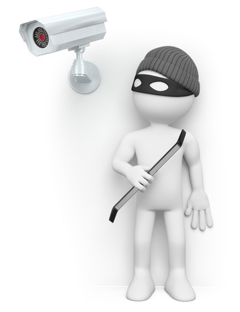 security monitoring: 3d white people. Thief hiding from a security camera. Isolated white background.