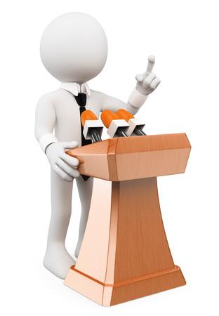 human character: 3d bianchi. Uomo che d� una conferenza. Isolato sfondo bianco.