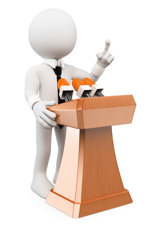 3d white people. Man giving a conference. Isolated white background.