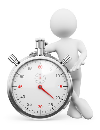 timer: 3d white people. Man pressing the button of a stopwatch. Isolated white background.