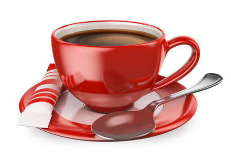 3d red cup of coffee with sugar and spoon. Isolated white background.