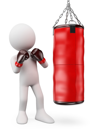 3d white people.  Boxer hitting a punching bag. Isolated white background.