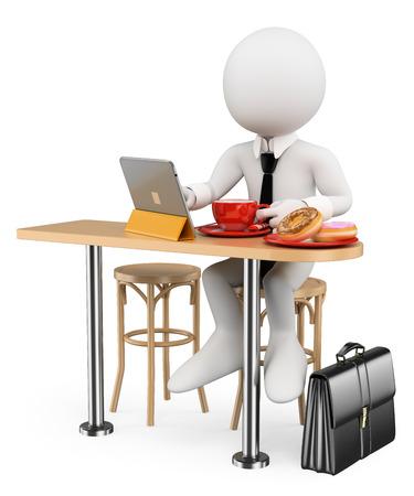 3D-weiße Menschen. Geschäfts Frühstück Krapfen mit seinem Tablet vor der Arbeit. Isolierte weißem Hintergrund.