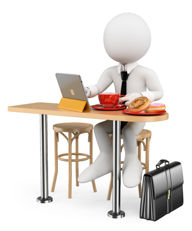 3d witte mensen. Zakenman ontbijt donuts met zijn tablet alvorens te gaan werken. Geïsoleerde witte achtergrond. Stockfoto