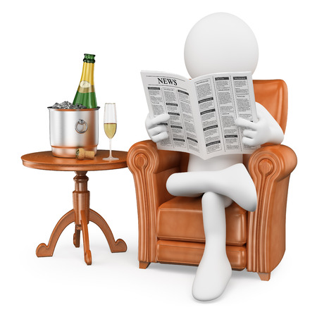 3d white people. Gentleman reading the newspaper and drinking champagne. Isolated white background. photo