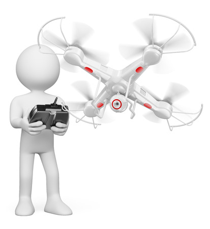 3d white people. Man flying a white drone with camera. Isolated white background.