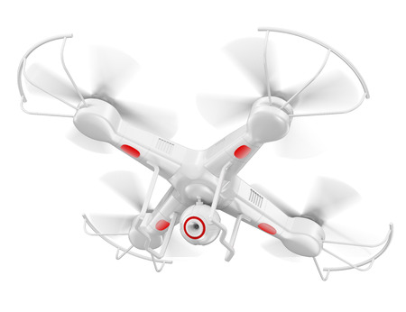 drone: 3d white drone with camera. Isolated white background.