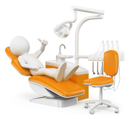 3d witte mensen. Patiënt bij de tandarts. Geïsoleerde witte achtergrond.