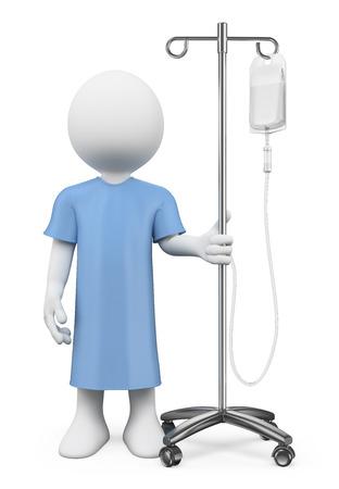 chory: 3D White ludzie. Pacjent w szpitalu z surowicy. Pojedyncze białe tło.