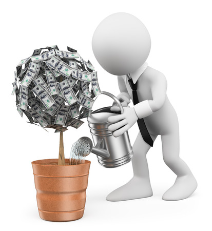prosperidad: 3d gente blanca. El hombre de negocios regar una planta de dinero. Fondo blanco aislado. Foto de archivo