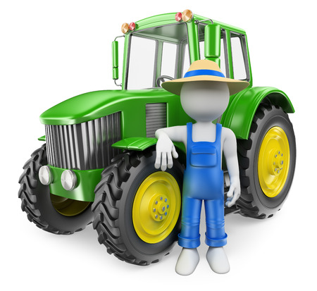 3d white people. Farmer with his modern tractor. Isolated white background.